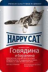 """HAPPY CAT """"ПАУЧ - ГОВЯДИНА И БАРАНИНА В СОУСЕ"""" - КОНСЕРВЫ ДЛЯ КОШЕК"""
