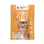SMART CAT - Паучи для взрослых кошек и котят кусочки курочки с морковью в нежном соусе