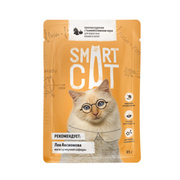 SMART CAT - Паучи для взрослых кошек и котят кусочки курочки с тыквой в нежном соусе
